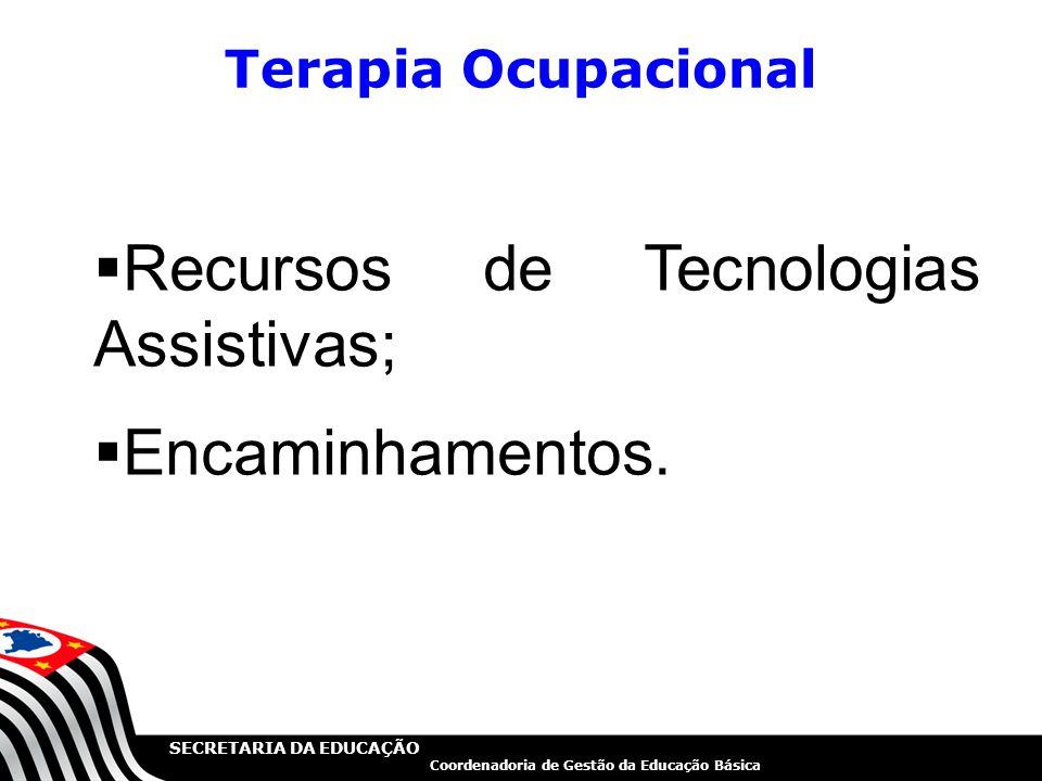 Recursos de Tecnologias Assistivas; Encaminhamentos.
