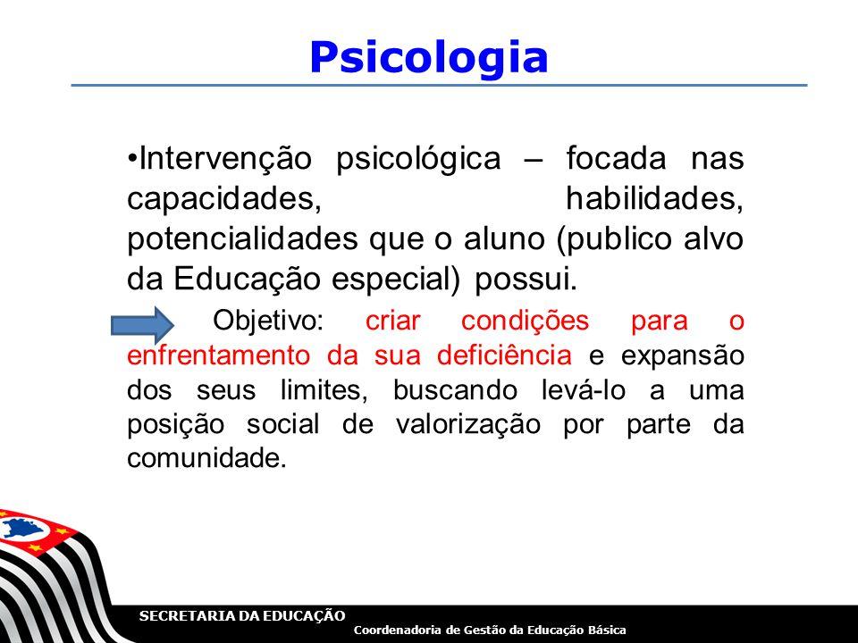 Psicologia Intervenção psicológica – focada nas capacidades, habilidades, potencialidades que o aluno (publico alvo da Educação especial) possui.