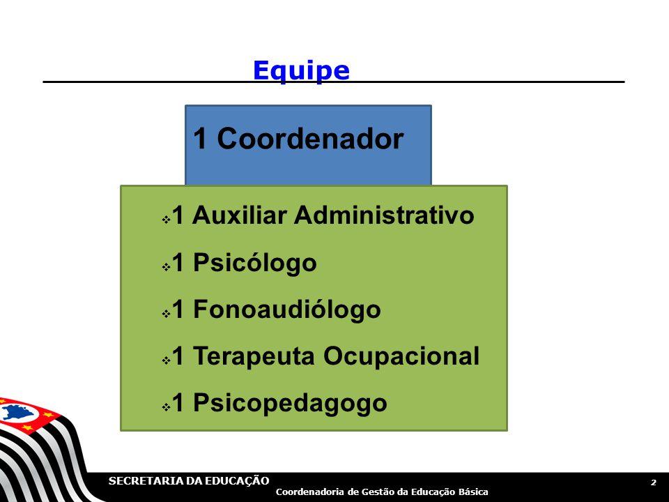 1 Coordenador Equipe 1 Auxiliar Administrativo 1 Psicólogo