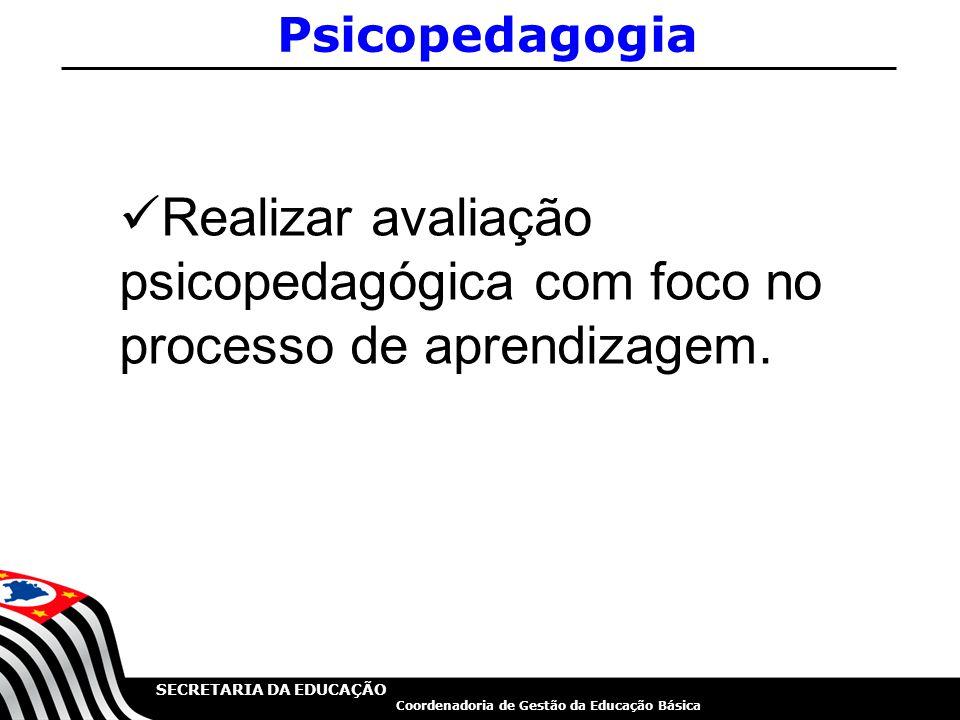 Psicopedagogia Realizar avaliação psicopedagógica com foco no processo de aprendizagem.