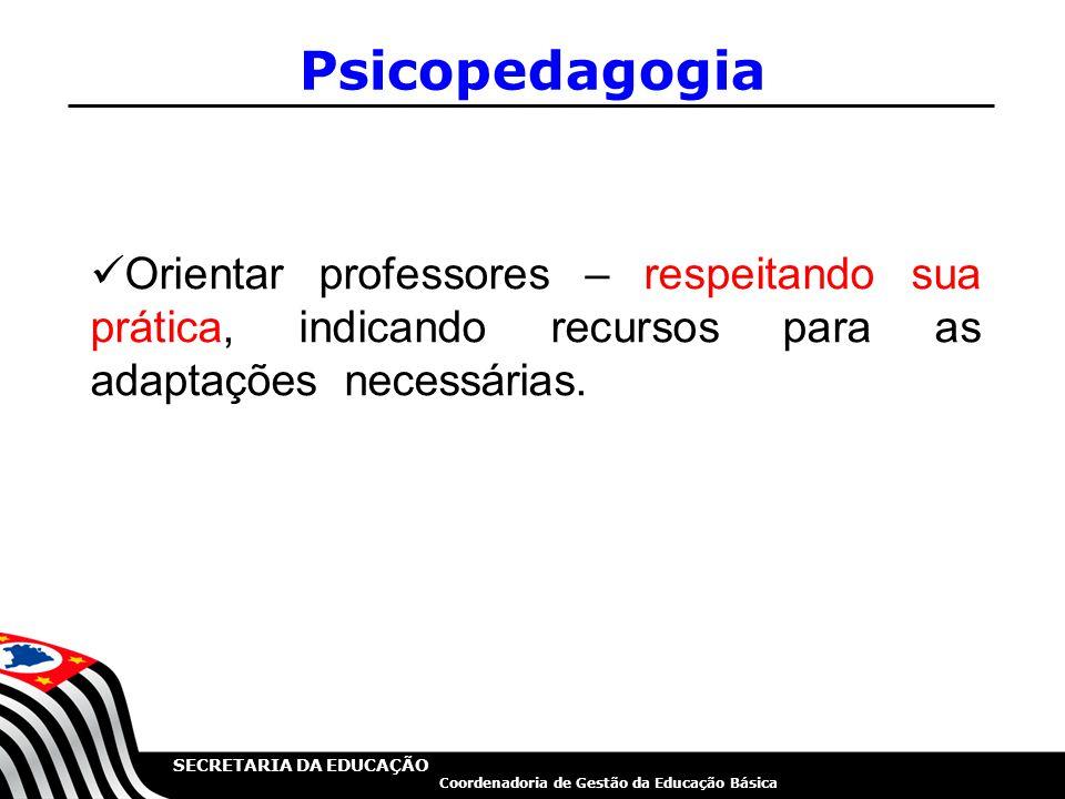 Psicopedagogia Orientar professores – respeitando sua prática, indicando recursos para as adaptações necessárias.