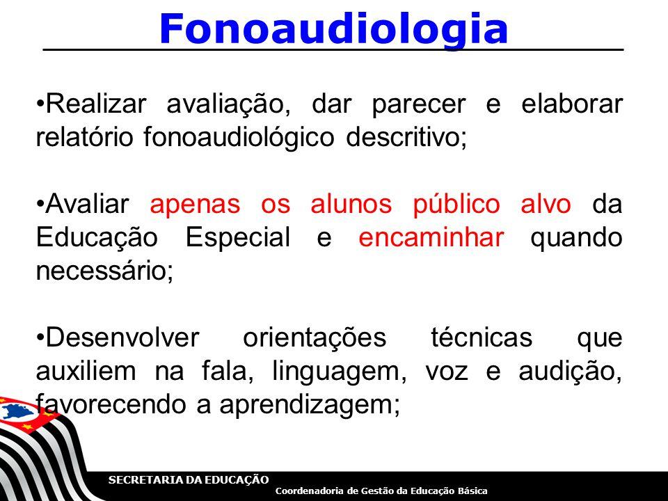Fonoaudiologia Realizar avaliação, dar parecer e elaborar relatório fonoaudiológico descritivo;