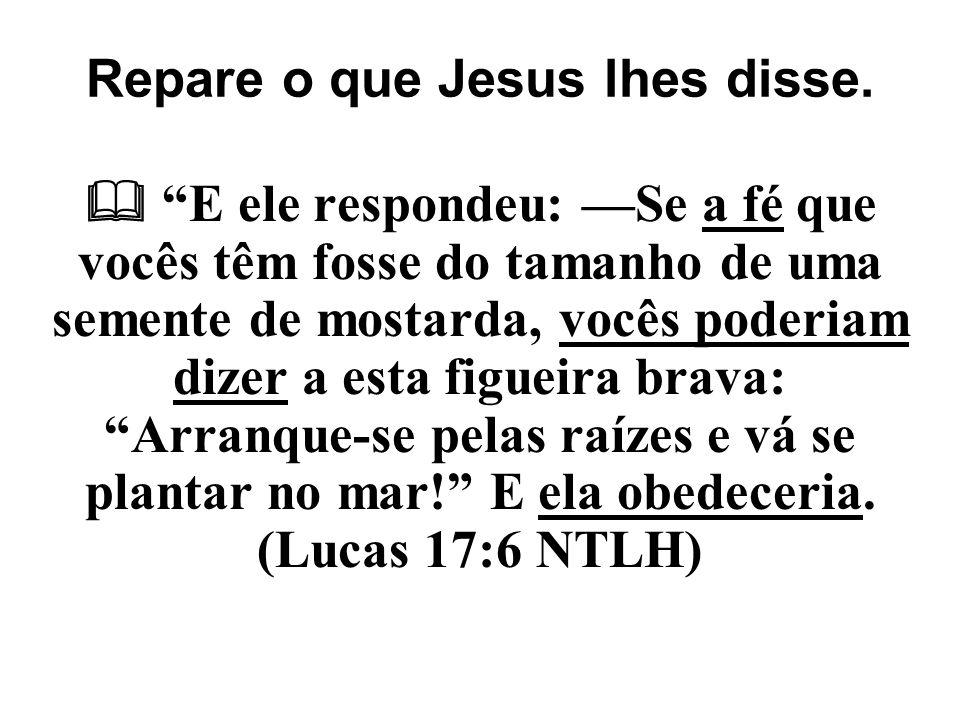Repare o que Jesus lhes disse.