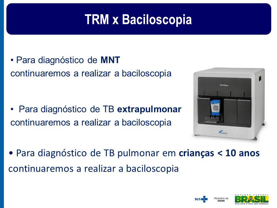 TRM x Baciloscopia Para diagnóstico de MNT continuaremos a realizar a baciloscopia.