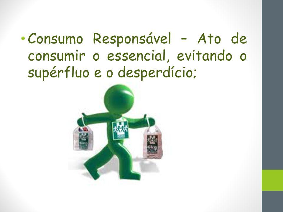 Consumo Responsável – Ato de consumir o essencial, evitando o supérfluo e o desperdício;