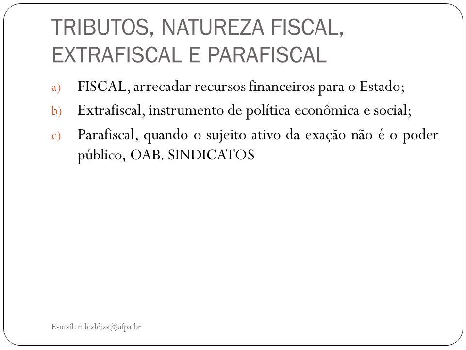 TRIBUTOS, NATUREZA FISCAL, EXTRAFISCAL E PARAFISCAL