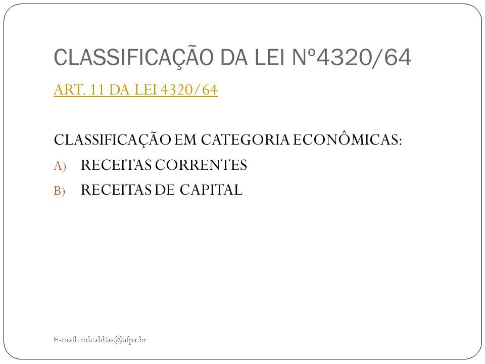 CLASSIFICAÇÃO DA LEI Nº4320/64