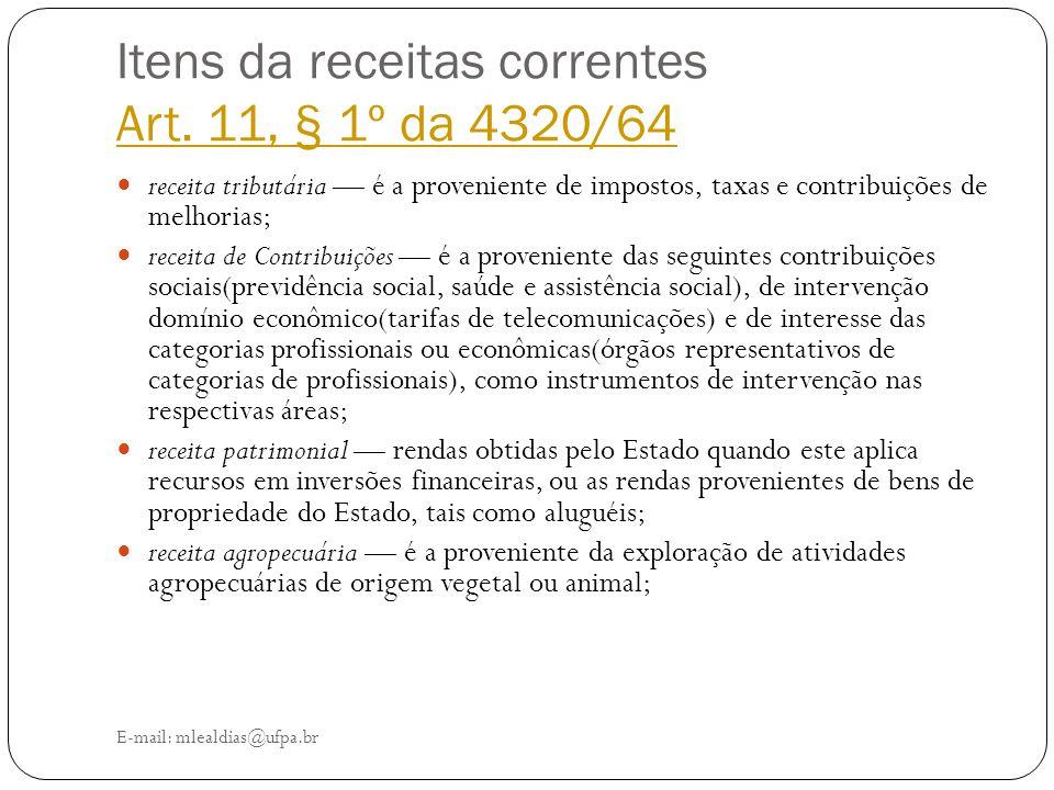 Itens da receitas correntes Art. 11, § 1º da 4320/64