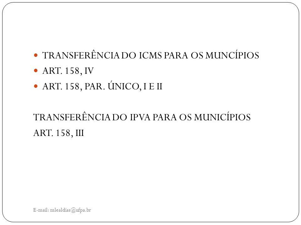 TRANSFERÊNCIA DO ICMS PARA OS MUNCÍPIOS ART. 158, IV