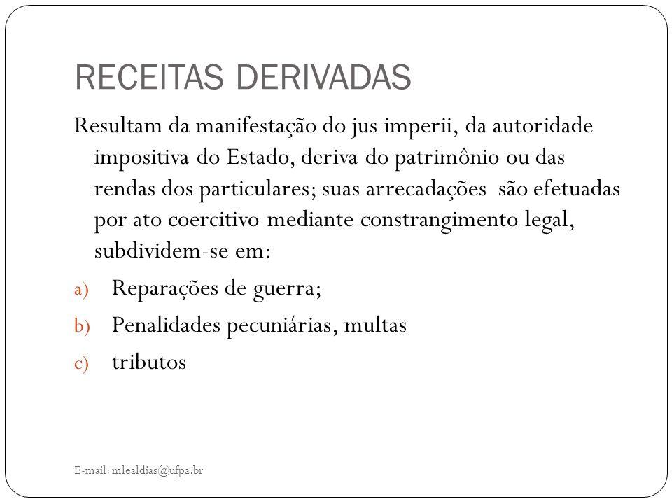 RECEITAS DERIVADAS