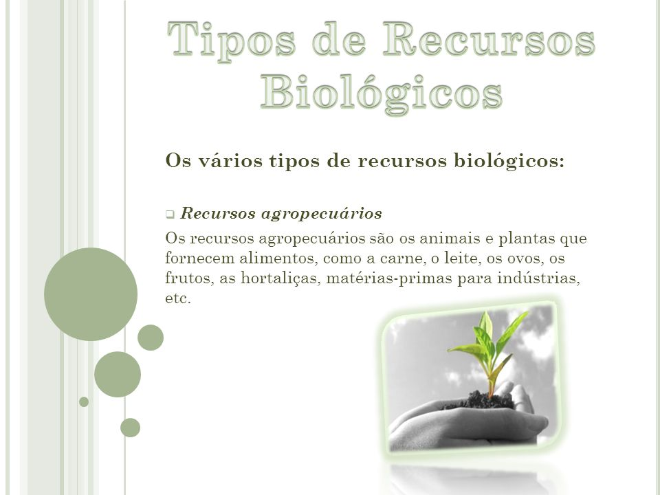 Tipos de Recursos Biológicos