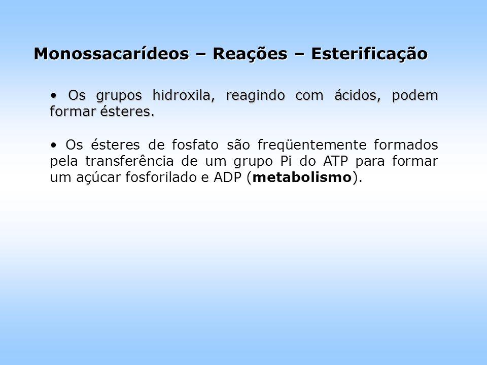 Monossacarídeos – Reações – Esterificação