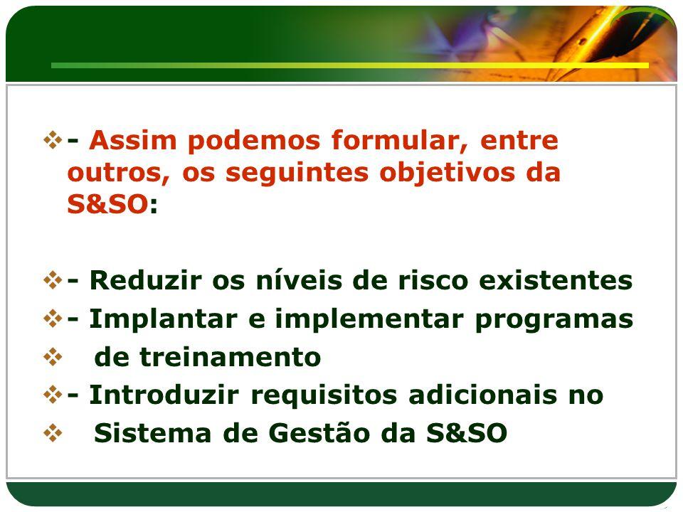 - Assim podemos formular, entre outros, os seguintes objetivos da S&SO: