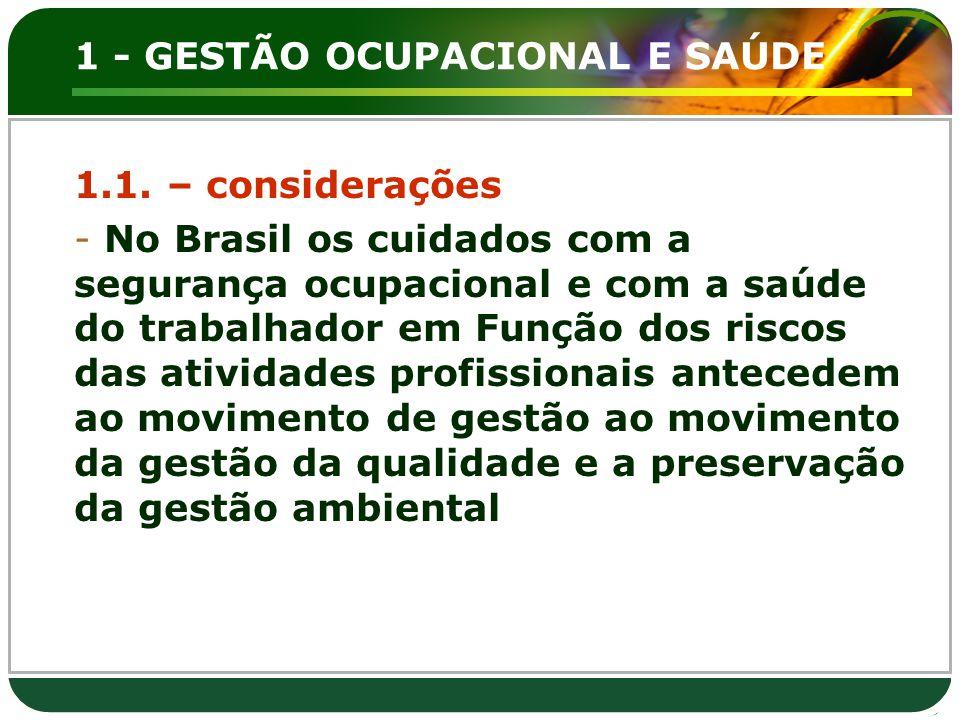 1 - GESTÃO OCUPACIONAL E SAÚDE