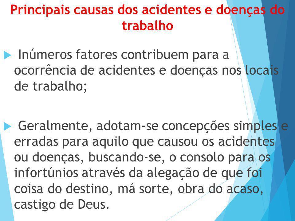 Principais causas dos acidentes e doenças do trabalho