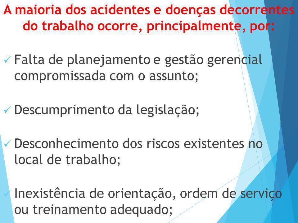 A maioria dos acidentes e doenças decorrentes do trabalho ocorre, principalmente, por: