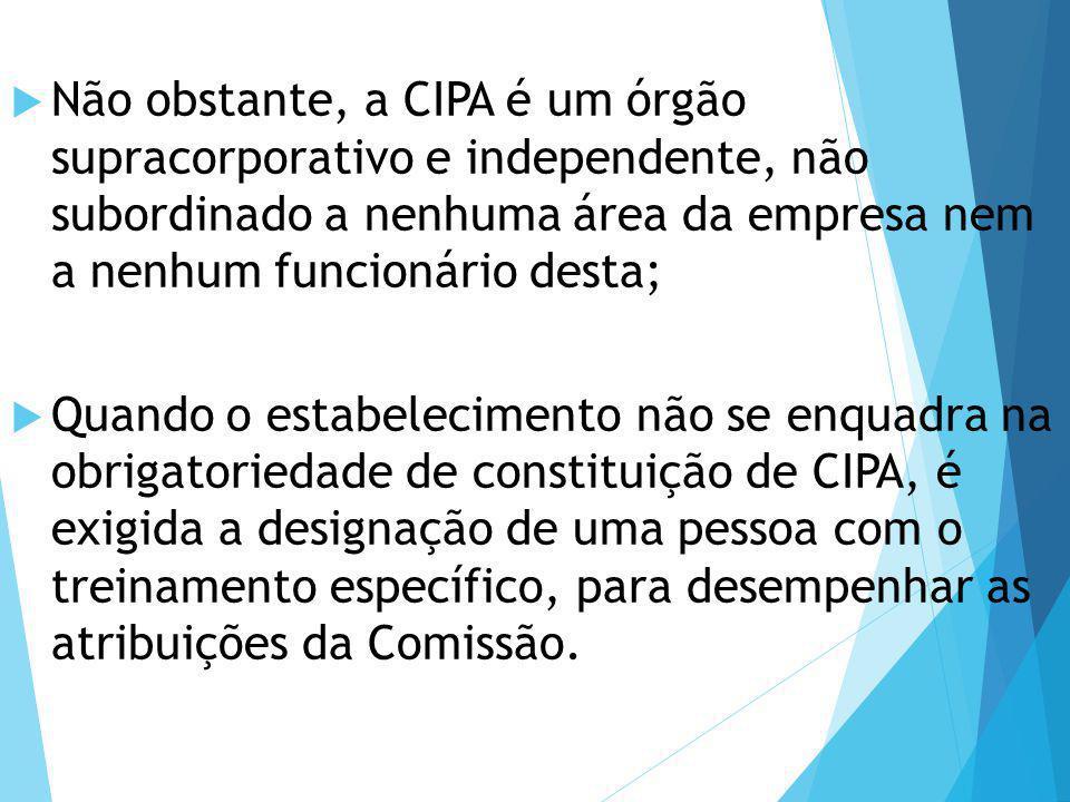 Não obstante, a CIPA é um órgão supracorporativo e independente, não subordinado a nenhuma área da empresa nem a nenhum funcionário desta;