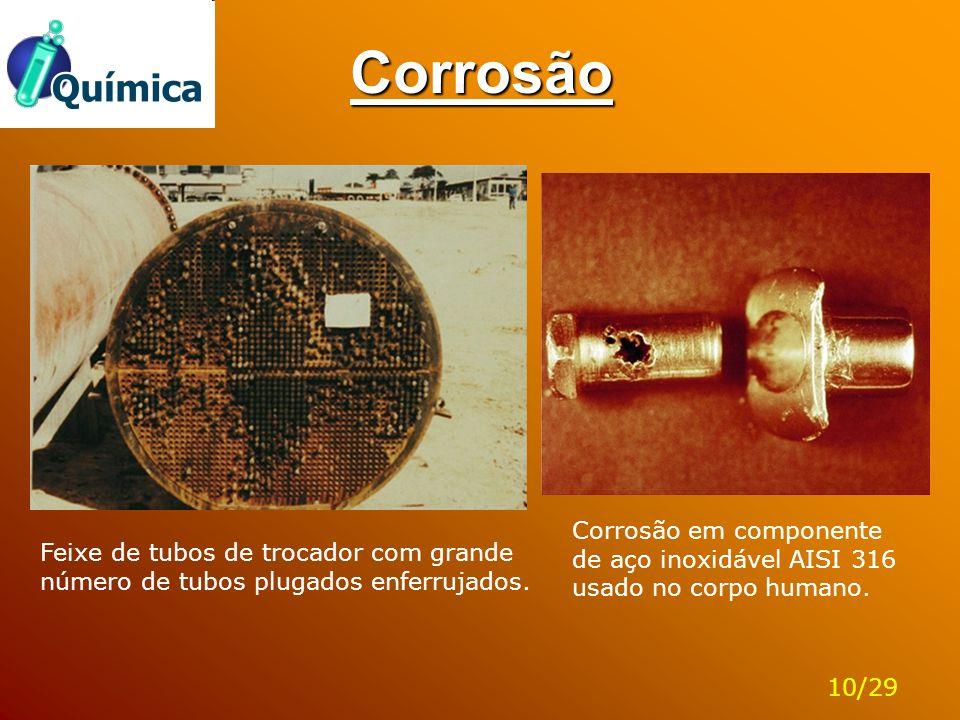Corrosão Corrosão em componente de aço inoxidável AISI 316 usado no corpo humano.