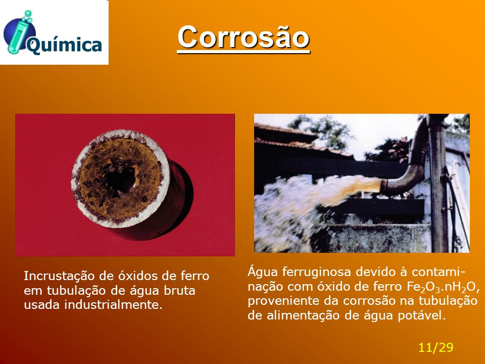 Corrosão Água ferruginosa devido à contami-nação com óxido de ferro Fe2O3.nH2O, proveniente da corrosão na tubulação de alimentação de água potável.