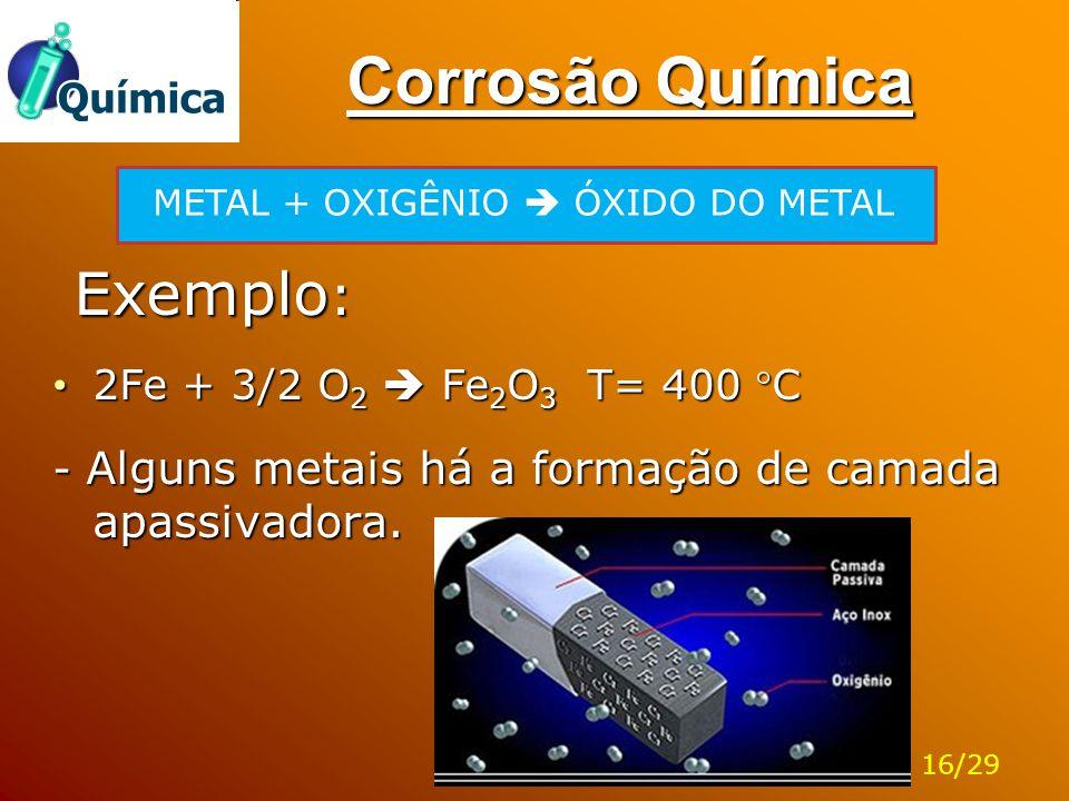 Corrosão Química Exemplo: 2Fe + 3/2 O2  Fe2O3 T= 400 C