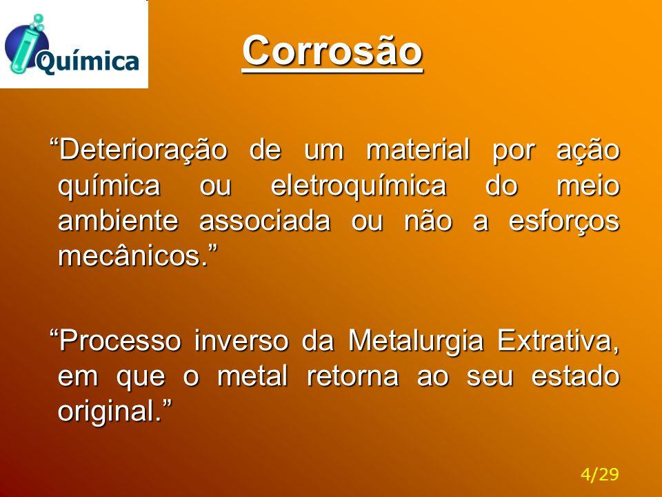 Corrosão Deterioração de um material por ação química ou eletroquímica do meio ambiente associada ou não a esforços mecânicos.