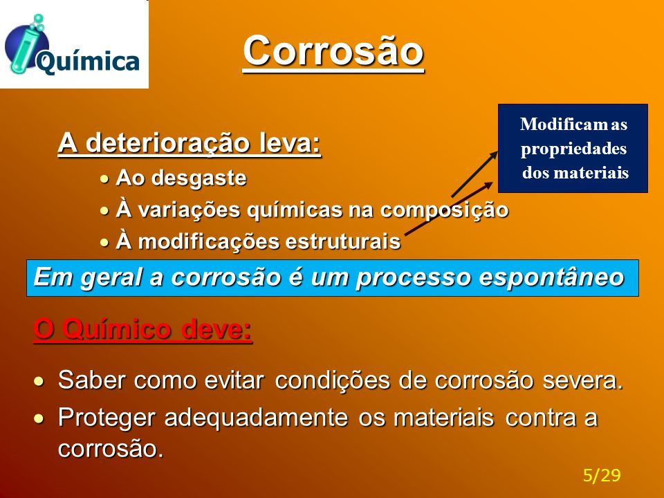 Corrosão A deterioração leva: O Químico deve: