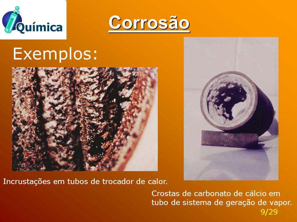 Corrosão Exemplos: Incrustações em tubos de trocador de calor.