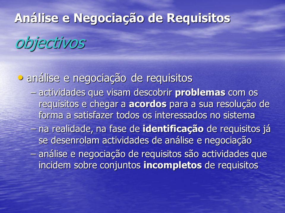 Análise e Negociação de Requisitos objectivos
