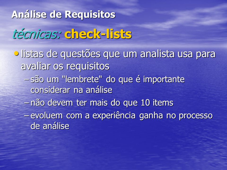 Análise de Requisitos técnicas: check-lists