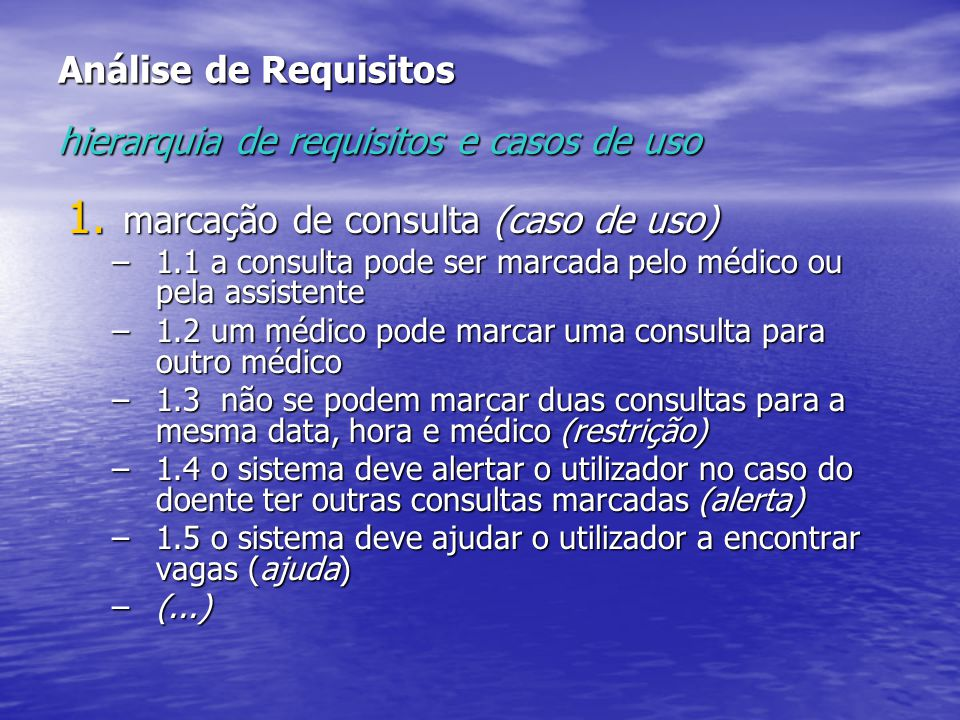 Análise de Requisitos hierarquia de requisitos e casos de uso