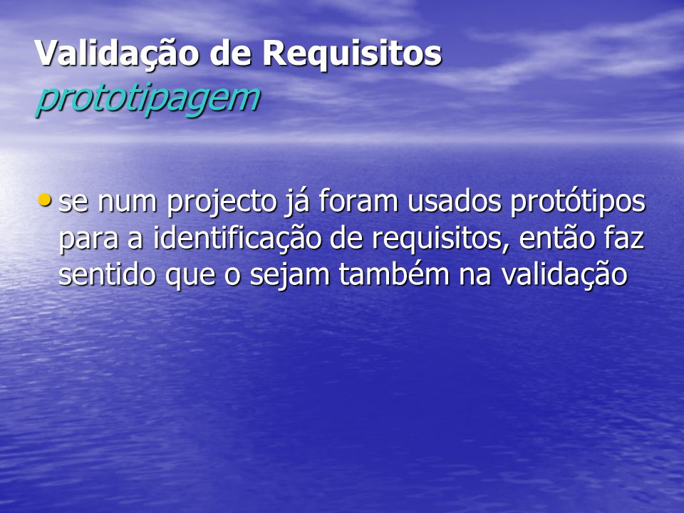 Validação de Requisitos prototipagem