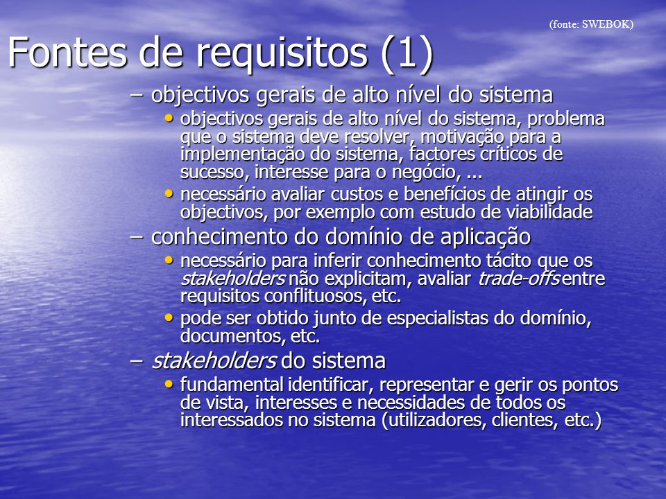 Fontes de requisitos (1)
