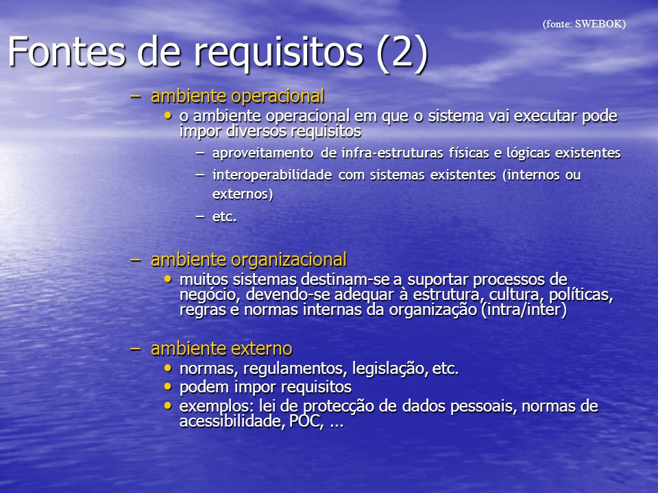 Fontes de requisitos (2)