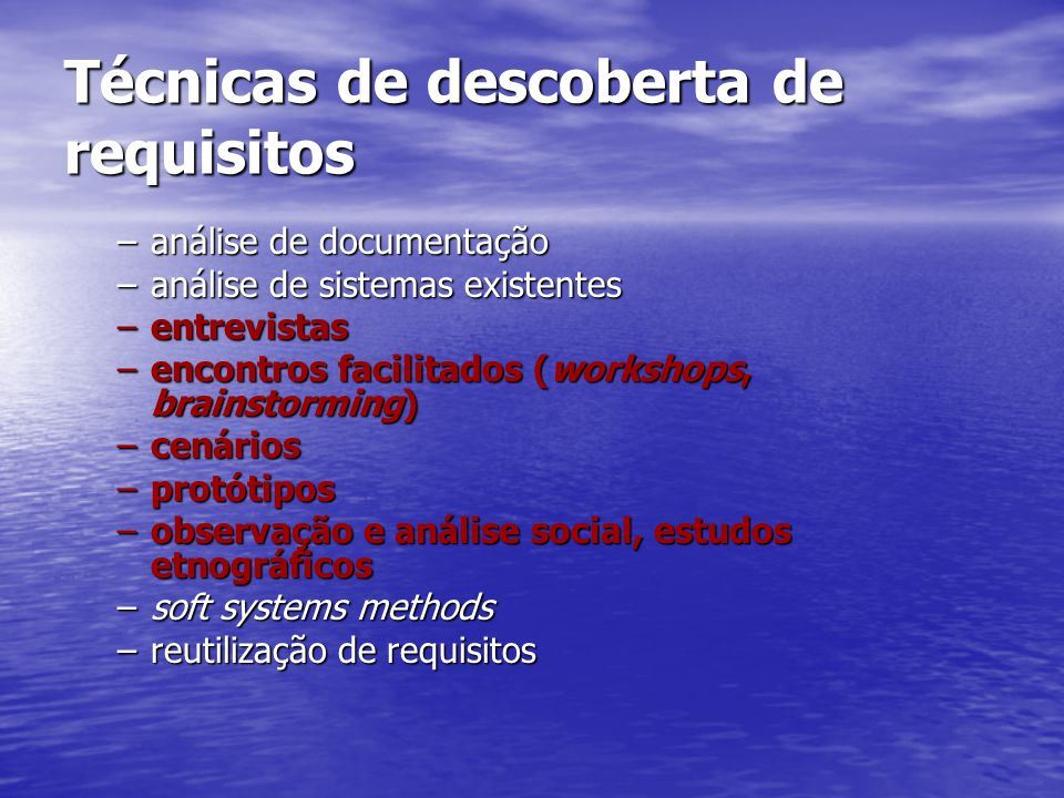 Técnicas de descoberta de requisitos
