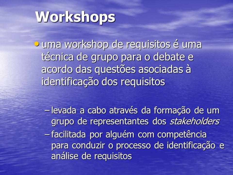 Workshops uma workshop de requisitos é uma técnica de grupo para o debate e acordo das questões asociadas à identificação dos requisitos.