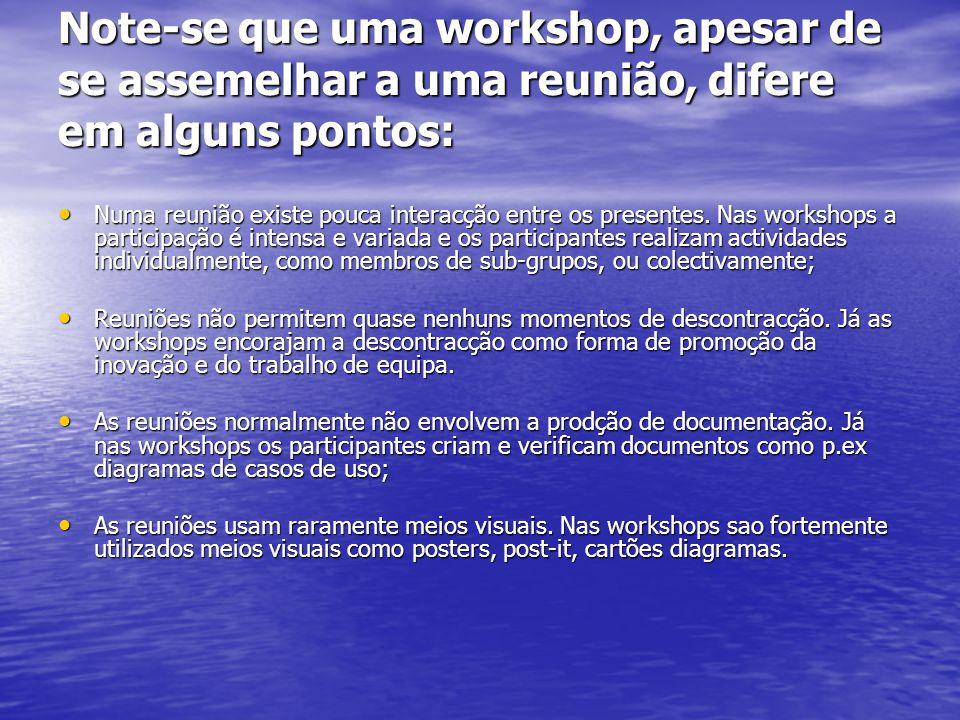 Note-se que uma workshop, apesar de se assemelhar a uma reunião, difere em alguns pontos: