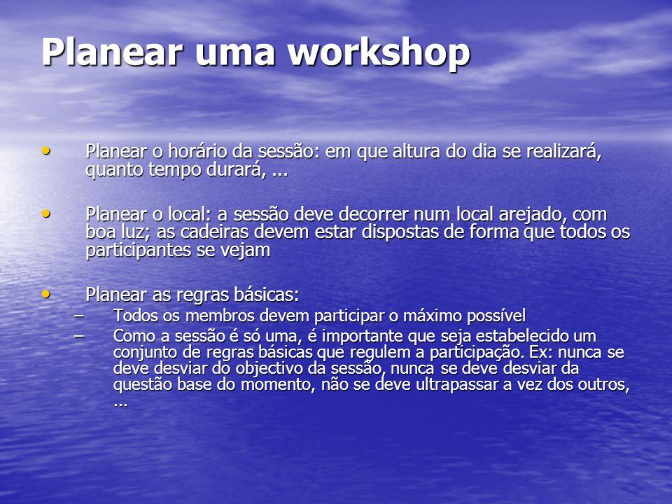 Planear uma workshop Planear o horário da sessão: em que altura do dia se realizará, quanto tempo durará, ...