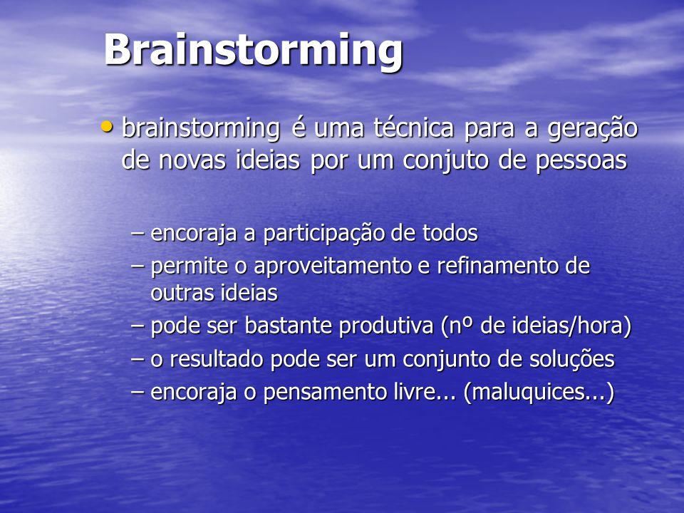 Brainstorming brainstorming é uma técnica para a geração de novas ideias por um conjuto de pessoas.