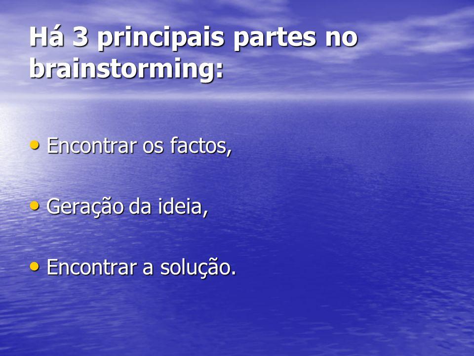 Há 3 principais partes no brainstorming: