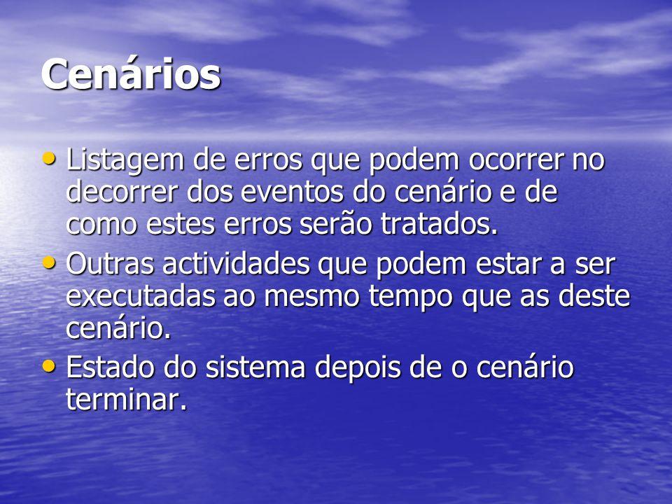Cenários Listagem de erros que podem ocorrer no decorrer dos eventos do cenário e de como estes erros serão tratados.