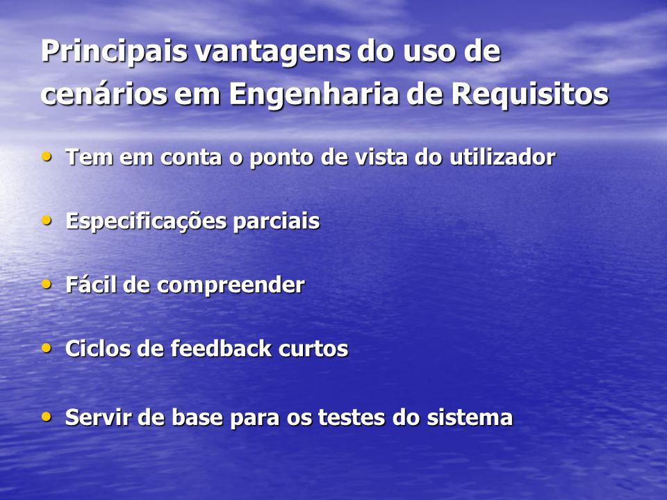 Principais vantagens do uso de cenários em Engenharia de Requisitos