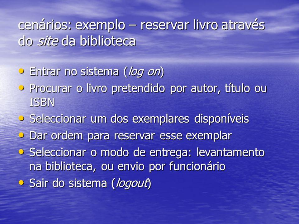 cenários: exemplo – reservar livro através do site da biblioteca