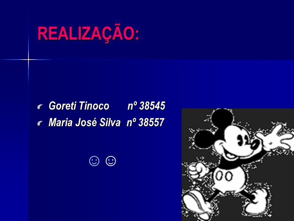 REALIZAÇÃO: Goreti Tinoco nº 38545 Maria José Silva nº 38557 ☺☺
