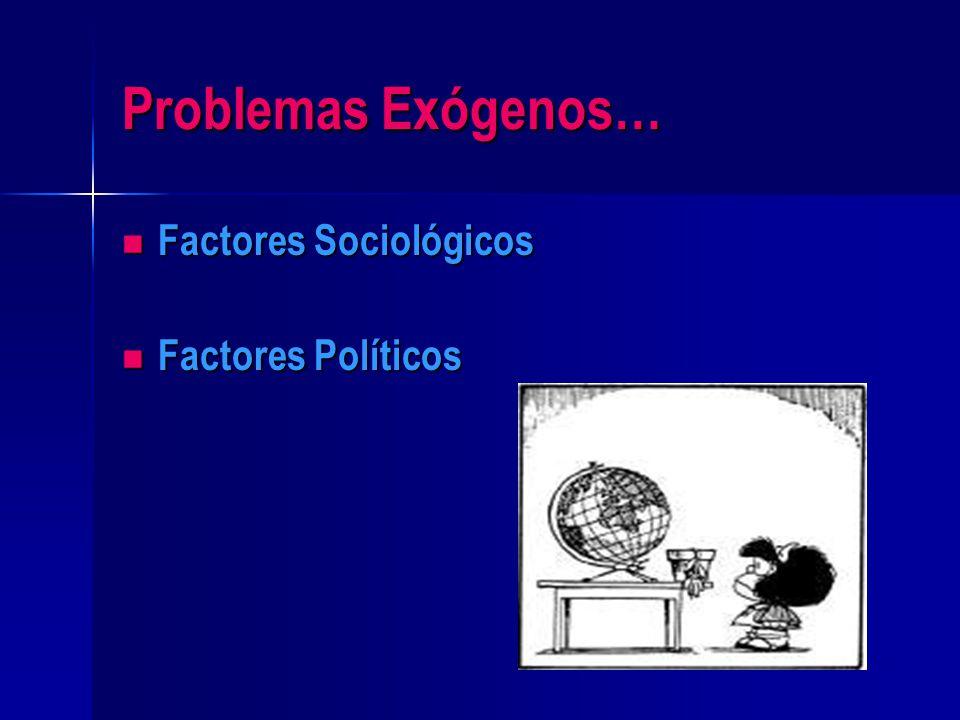 Problemas Exógenos… Factores Sociológicos Factores Políticos