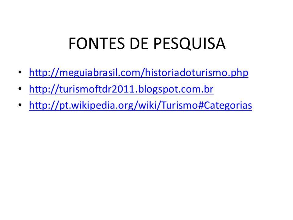 FONTES DE PESQUISA http://meguiabrasil.com/historiadoturismo.php