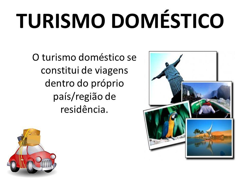 TURISMO DOMÉSTICO O turismo doméstico se constitui de viagens dentro do próprio país/região de residência.
