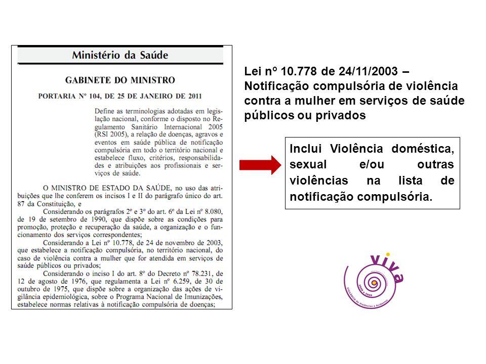 Lei no 10.778 de 24/11/2003 – Notificação compulsória de violência contra a mulher em serviços de saúde públicos ou privados