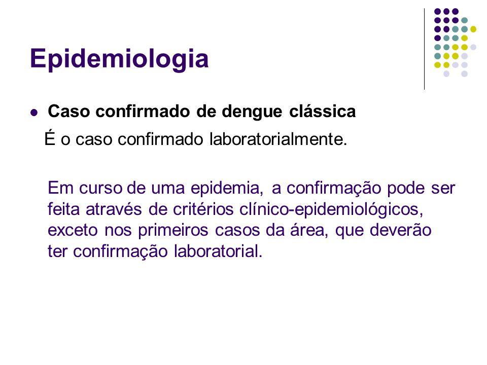 Epidemiologia Caso confirmado de dengue clássica