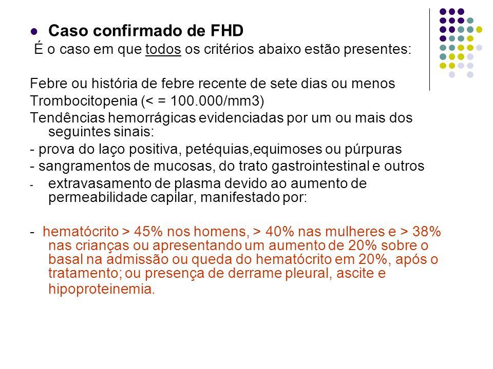 Caso confirmado de FHD É o caso em que todos os critérios abaixo estão presentes: Febre ou história de febre recente de sete dias ou menos.