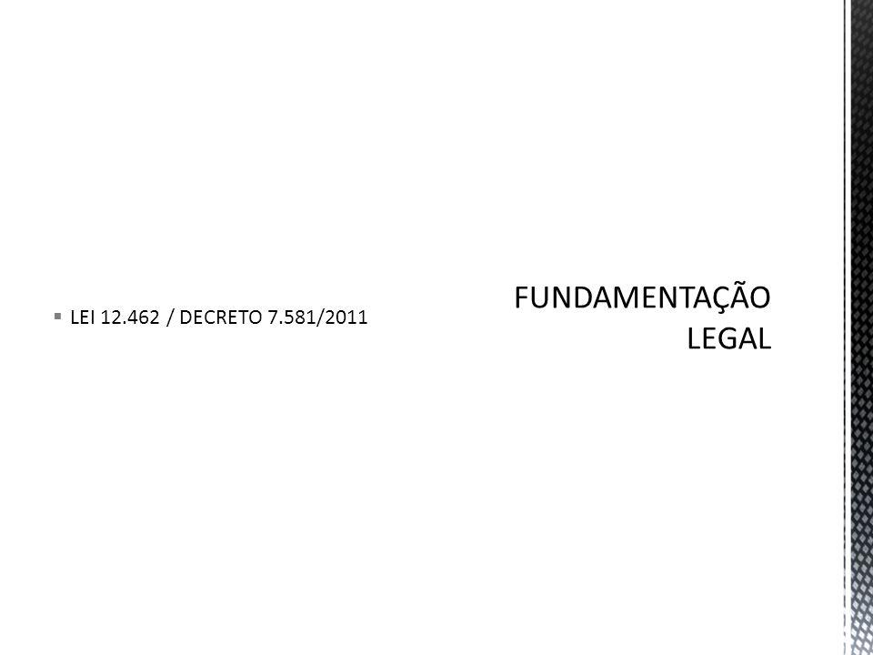 LEI 12.462 / DECRETO 7.581/2011 FUNDAMENTAÇÃO LEGAL